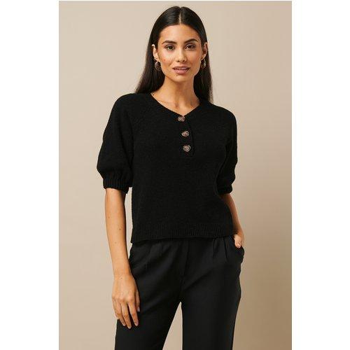 Vintage Look Knitted Top - Black - Nicki x NA-KD - Modalova
