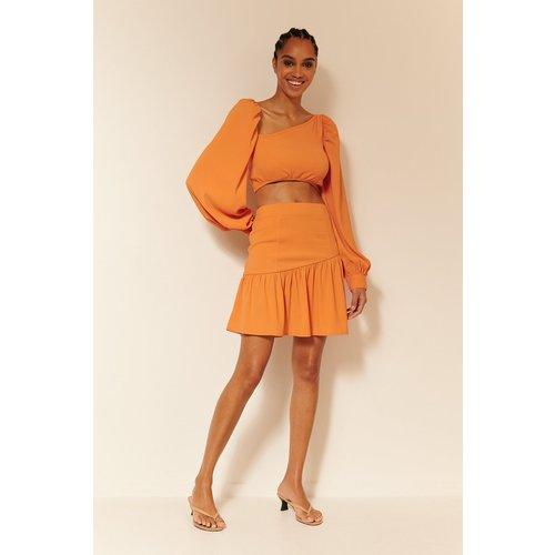 Jupe Courte À Fronces - Orange - Oumayma x NA-KD - Modalova