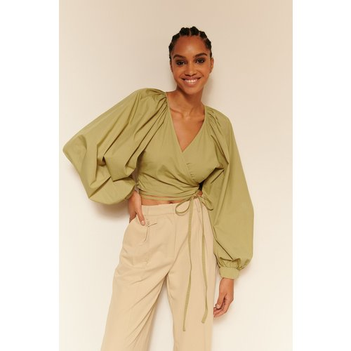 Blouse À Cravate Cache-Coeur - Green - Oumayma x NA-KD - Modalova
