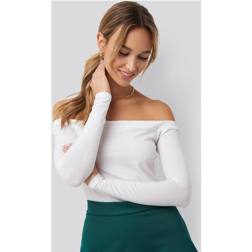 Long Sleeve Bardot Top - White - Pamela x NA-KD Reborn - Modalova