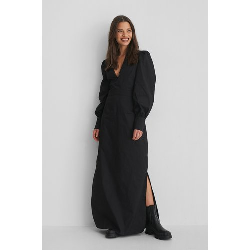 V-Neck Maxi Dress - Black - Selma Omari x NA-KD - Modalova