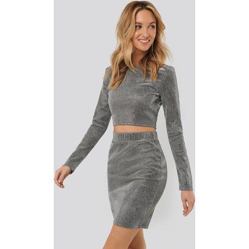 Glittery Mini Skirt - Silver - Sara Sieppi x NA-KD - Modalova
