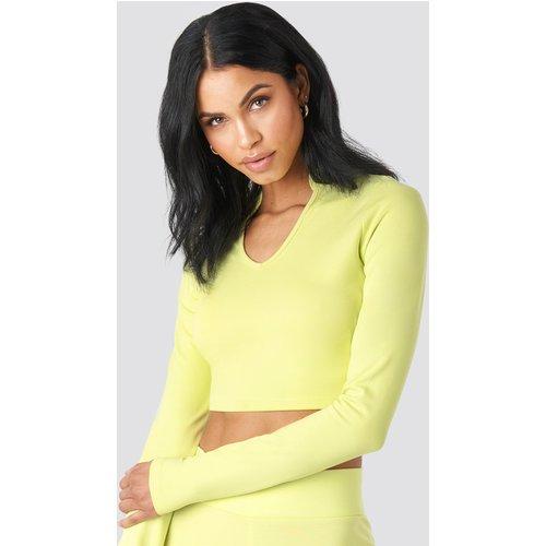 W Collar Long Sleeve Top - Green - Summerburst x NA-KD - Modalova
