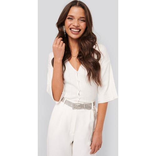 Wide Ribbed Knitted Button Top - White - Tina Maria x NA-KD - Modalova