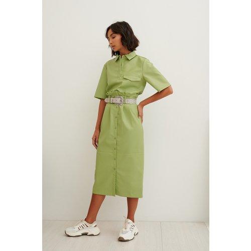 Jupe Mi-Longue Paperbag En Faux Cuir - Green - Trine Kjaer x NA-KD - Modalova