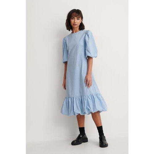 Back Detail Volume Sleeve Dress - Blue - Trine Kjaer x NA-KD - Modalova