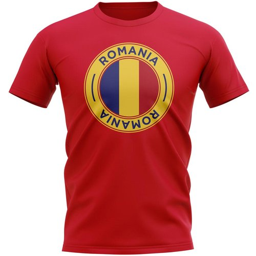 UKSoccershop Romania Football Badge T-Shirt (Red)