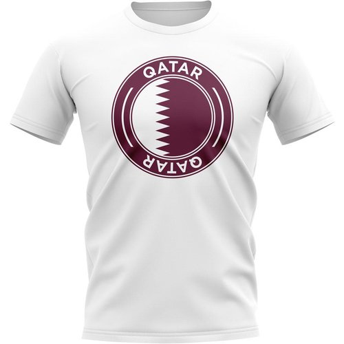 UKSoccershop Qatar Football Badge T-Shirt (White)