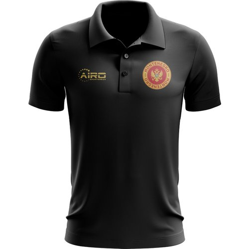 UKSoccershop Montenegro Football Polo Shirt (Black)