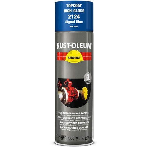 Rust Oleum RUST-OLEUM 2124 Hard Hat Topcoat Ral-Colours, The Nr. 1 Industrial Paint Aerosol. Go Further, Work Faster, Last Longer!, Signal blue-RAL 5005