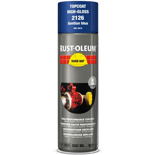 Rust Oleum RUST-OLEUM 2126 Hard Hat Topcoat Ral-Colours, The Nr. 1 Industrial Paint Aerosol. Go Further, Work Faster, Last Longer!, Gentian blue-RAL 5010