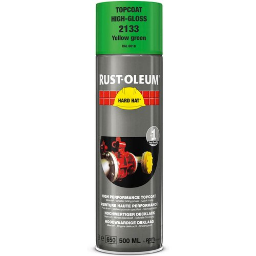 Rust Oleum RUST-OLEUM 2133 Hard Hat Topcoat Ral-Colours, The Nr. 1 Industrial Paint Aerosol. Go Further, Work Faster, Last Longer!, Yellow green-RAL 6018