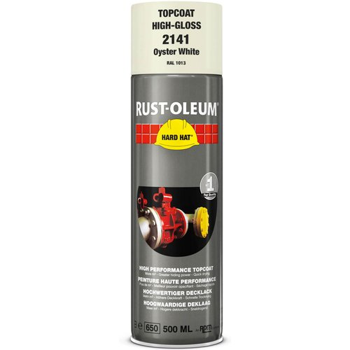 Rust Oleum RUST-OLEUM 2141 Hard Hat Topcoat Ral-Colours, The Nr. 1 Industrial Paint Aerosol. Go Further, Work Faster, Last Longer!, Oyster white-RAL 1013