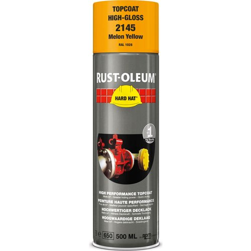 Rust Oleum RUST-OLEUM 2145 Hard Hat Topcoat Ral-Colours, The Nr. 1 Industrial Paint Aerosol. Go Further, Work Faster, Last Longer!, Melon yellow-RAL 1028