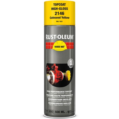 Rust Oleum RUST-OLEUM 2146 Hard Hat Topcoat Ral-Colours, The Nr. 1 Industrial Paint Aerosol. Go Further, Work Faster, Last Longer!, Coleseed yellow-RAL 1021