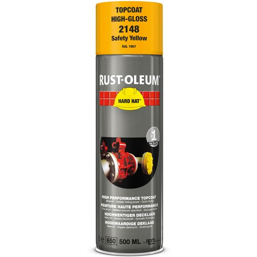 Rust Oleum RUST-OLEUM 2148 Hard Hat Topcoat Ral-Colours, The Nr. 1 Industrial Paint Aerosol. Go Further, Work Faster, Last Longer!, Safety yellow-RAL 1007