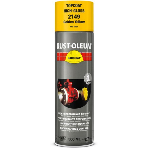 Rust Oleum RUST-OLEUM 2149 Hard Hat Topcoat Ral-Colours, The Nr. 1 Industrial Paint Aerosol. Go Further, Work Faster, Last Longer!, Golden yellow-RAL 1004