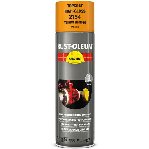Rust Oleum RUST-OLEUM 2154 Hard Hat Topcoat Ral-Colours, The Nr. 1 Industrial Paint Aerosol. Go Further, Work Faster, Last Longer!, Yellow orange-RAL 2000