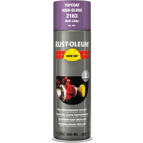 Rust Oleum RUST-OLEUM 2163 Hard Hat Topcoat Ral-Colours, The Nr. 1 Industrial Paint Aerosol. Go Further, Work Faster, Last Longer!, Red lilac-RAL 4001