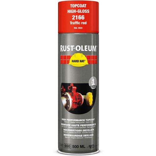 Rust Oleum RUST-OLEUM 2166 Hard Hat Topcoat Ral-Colours, The Nr. 1 Industrial Paint Aerosol. Go Further, Work Faster, Last Longer!, Traffic red-RAL 3020