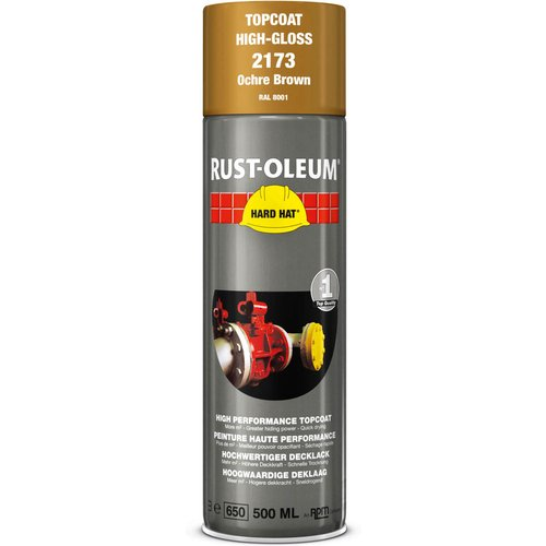 Rust Oleum RUST-OLEUM 2173 Hard Hat Topcoat Ral-Colours, The Nr. 1 Industrial Paint Aerosol. Go Further, Work Faster, Last Longer!, Ochre brown-RAL 8001