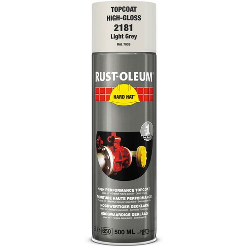 Rust Oleum RUST-OLEUM 2181 Hard Hat Topcoat Ral-Colours, The Nr. 1 Industrial Paint Aerosol. Go Further, Work Faster, Last Longer!, Light grey-RAL 7035