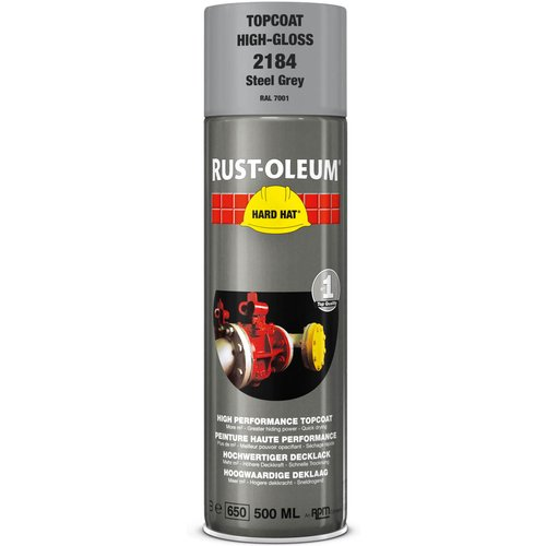 Rust Oleum RUST-OLEUM 2184 Hard Hat Topcoat Ral-Colours, The Nr. 1 Industrial Paint Aerosol. Go Further, Work Faster, Last Longer!, Steel grey-RAL 7001