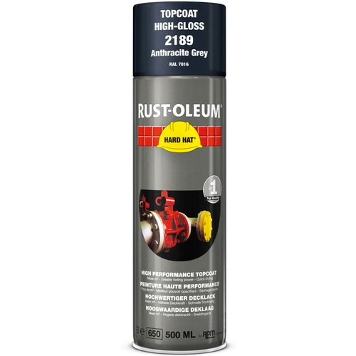 Rust Oleum RUST-OLEUM 2189 Hard Hat Topcoat Ral-Colours, The Nr. 1 Industrial Paint Aerosol. Go Further, Work Faster, Last Longer!, Anthracite grey-RAL 7016