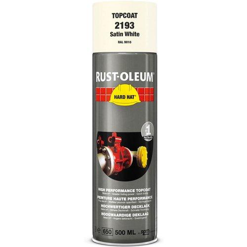 Rust Oleum RUST-OLEUM 2193 Hard Hat Topcoat Ral-Colours, The Nr. 1 Industrial Paint Aerosol. Go Further, Work Faster, Last Longer!, Satin white-RAL 9010