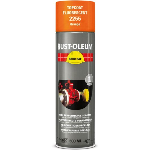 Rust Oleum RUST-OLEUM 2255 Hard Hat Topcoat, Clear Visible, Fluorescent orange