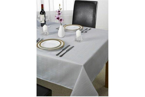 Emma Barclay Linen Silver Grey Checked Printed Table Cloth Plain Silver 60 X 84