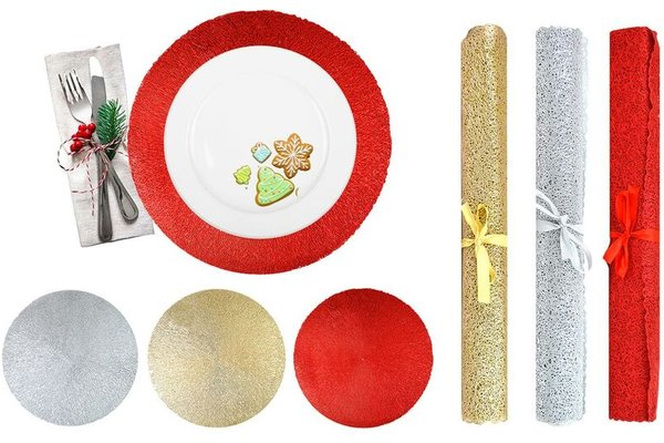 Red Mesh Place Mats Washable Heat Resistant Christmas Table Mattable Runner