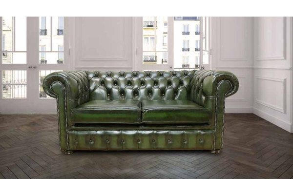 2 Seater Green Antique Leather Chesterfield Sofa Designersofas4u