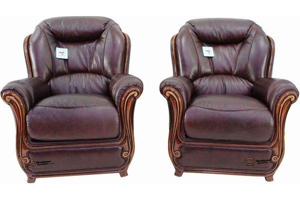 2 X Bari Armchairs Sofa Genuine Italian Burgandy Leather Offer