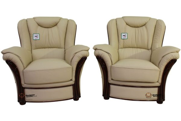 2 X Verona Genuine Italian Sofa Armchairs Cream Leather