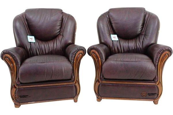 2 X Juliet Genuine Italian Sofa Armchairs Burgandy Leather