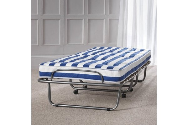 Arezzo Folding Metal Single Bed In Anthracite With Mattress