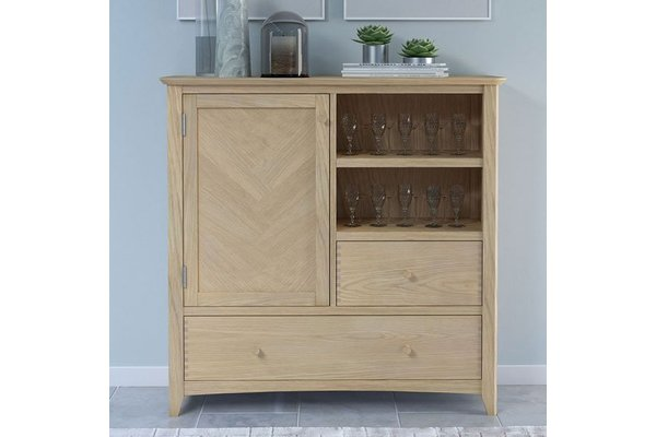 Carnial Wooden Large Drinks Store Cabinet In Blond Solid Oak