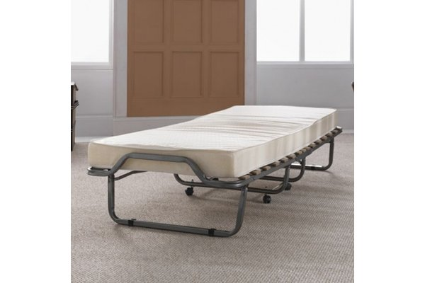Luxor Folding Metal Single Bed With Mattress In Anthracite