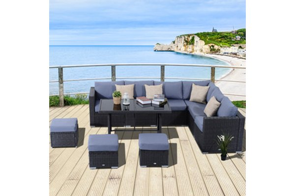 10 Pieces Rattan Sofa Set Black
