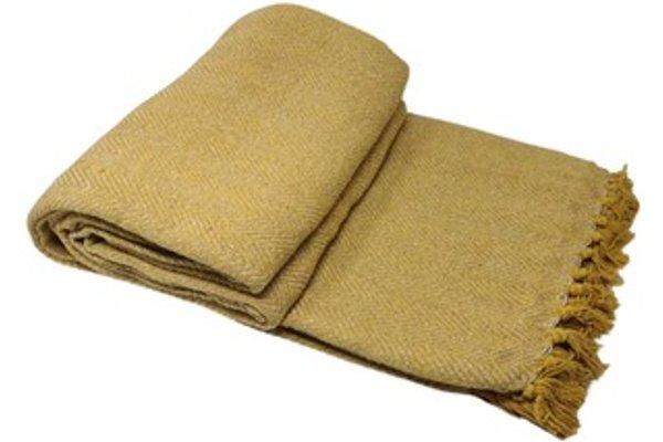 100 Cotton Herringbone Chair Sofa Bed Throws Mustard