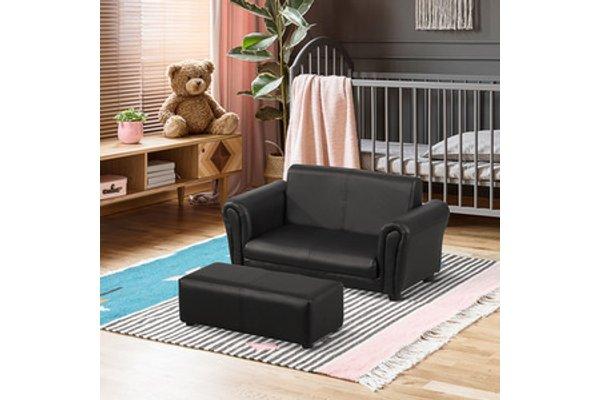 2 Seater Kids Twin Sofa Black