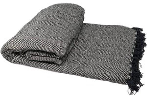 100 Cotton Herringbone Chair Sofa Bed Throws Black
