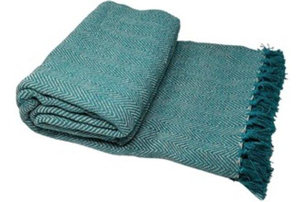 100 Cotton Herringbone Chair Sofa Bed Throws Teal