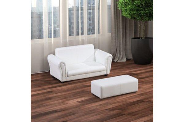 2 Seater Kids Twin Sofa White