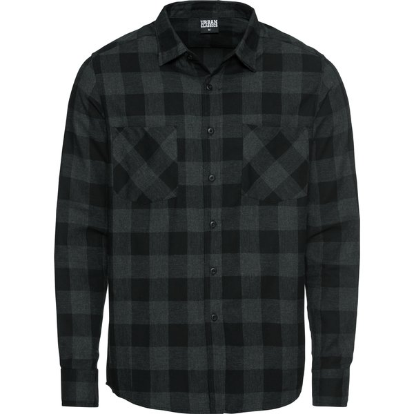 Urban Classics - Checked Flannel Shirt - Shirt - black-grey