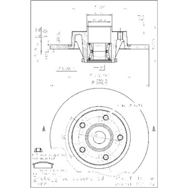 BREMBO Disque de frein avec roulement 08.9597.17