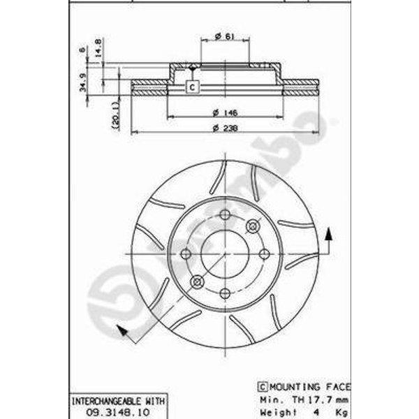 BREMBO - Disque de frein (Composition/Emballage)