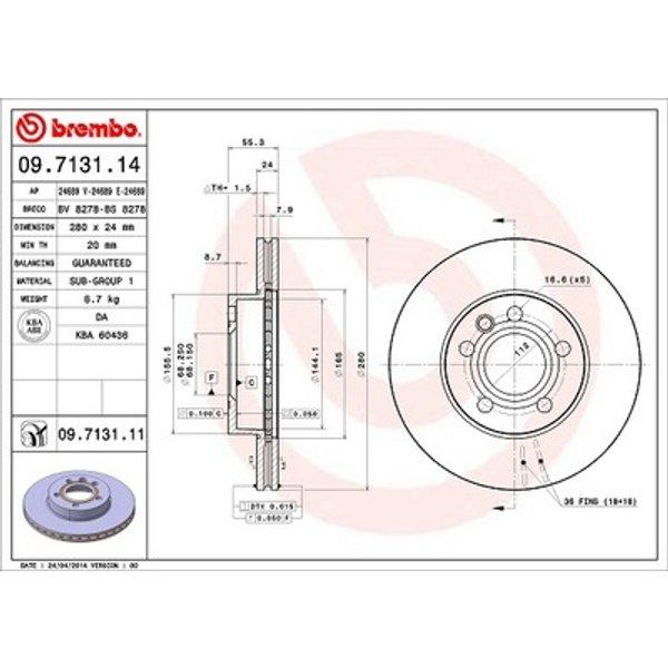 BREMBO Kit de Disque de frein 09.7131.14 - 2 pieces