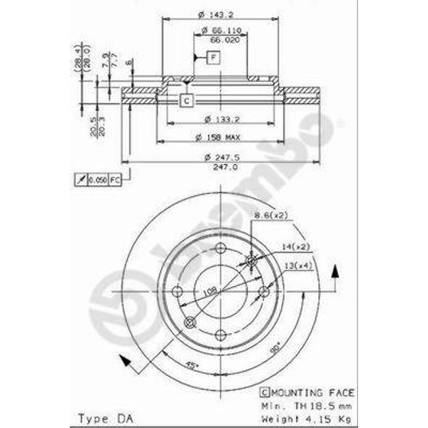 BREMBO Kit de Disque de frein 09.9610.14 - 2 pieces